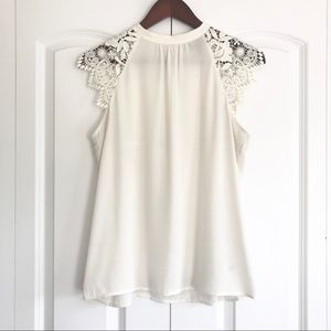 Express | Lace Sleeve Chiffon Top
